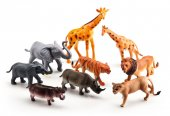Vn Lek Wild Animals Safari Elefant Giraff lejon Tiger mm Set