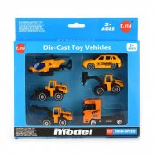 Robetoy Cars Bilar set med 6-Pack Arbetsfordon Grävare metall 61564