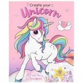 Minimoomi Ylvi Pyssel bok Create your UNICORN + 80st Stickers Rosa