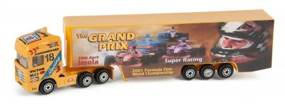 Bilar Lastbil truck med trailer Orange Grand Prix 19cm